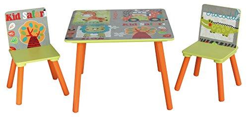 LibertyHouseToys TF4808 Kid Safari Tisch und 2 Stuhl, grün, 60 x 60 x 44 cm - Safari Kids Tisch