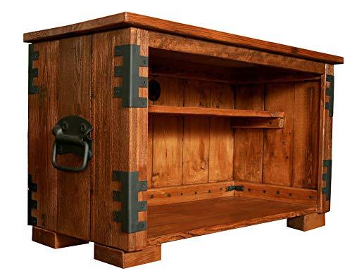 Propre Design Faite à la Main en Bois Rustique TV Meuble de Rangement Support Bois foncé Ton Livre étagère Placard.