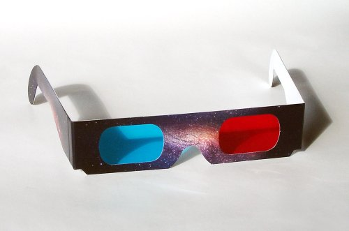 15 Stück hochwertige rot/cyan 3D-Brille (Anaglyphenbrille) mit Aufdruck – Weltraum, Weltall, Sterne / 15 STK 3-D Pappbrillen