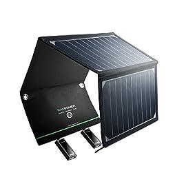 RAVPower Pannelli Solari Portatili Caricabatterie Solare da 16W con 2 Porte USB iSmart (21.5-23.5% Conversione Energia Solare, Pieghevole, Impermeabile, iSmart) per Smartphones Tablet Camping Viaggio