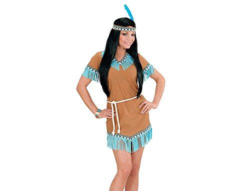 Widmann 06664 - Erwachsenenkostüm Indianerin, Kleid, Gürtel, Stirnband mit Feder, braun, Größe (Pferd Kostüm Zeigen Ideen)