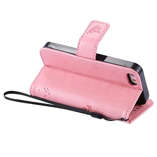 iPhone Case Cover Housse en Cuir PU en cuir véritable avec motif en relief pour iPhone 5 5S SE ( Color : Pink , Size : IPhone 5S SE ) Pink