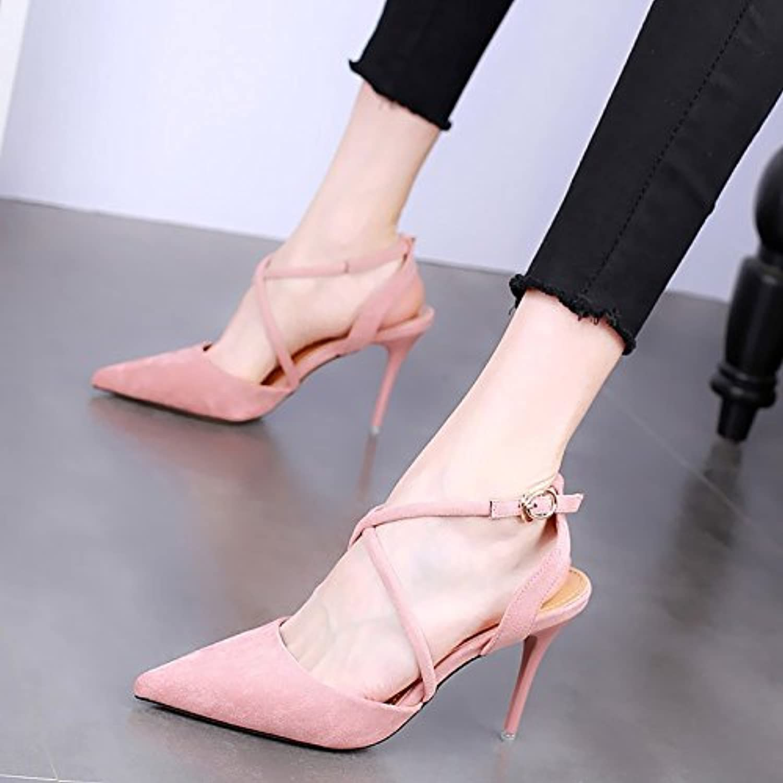 KPHY-Zapatos De Tacon Puntiagudo 10 Cm Delgada Tacones Sandalias Verano Sexy Una Palabra Hebilla Wild Zapatos...