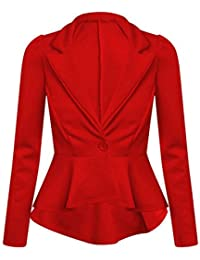 Womens New Long Sleeve Fitted Peplum Jackets Ladies Slim Fit Button Flared Frill Blazer Jacket