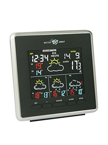 Technoline WD 4026 Wetterdirekt - Wetterstation mit LED-Anzeige,Innen und Außentemperaturanzeige, sowie zuverlässige Wettervorhersage für 4 Tage, schwarz/silber, 13,5 x 16,2 x 6,4 cm