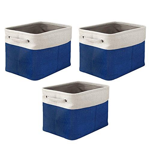 Gosear 3 Stk Faltbare Stoff Speicher Korb Veranstalter Im Lagerplätze Cubes mit Behandelt für Startseite Waschmaschine Wäscheservice Socken Unterwäsche Spielzeug Bücher Essen Handwerk Blau (Lagerplätze Und Körbe)