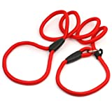 Hunde Retrieverleine Agilityleine Moxonleine Welpen Erziehungsleine aus Nylon 135cm Rot Führleine Einstellbar