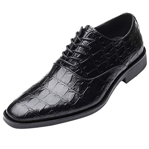 Bellelove Anzugschuhe Herren Slipper Anzug Schuhe Derby Oxford Lederschuhe Business Hochzeit Männer Leder Winter Herrenschuhe Schwarz Rot Braun Gelb 38-48 (Braune Lacoste Schuhe)