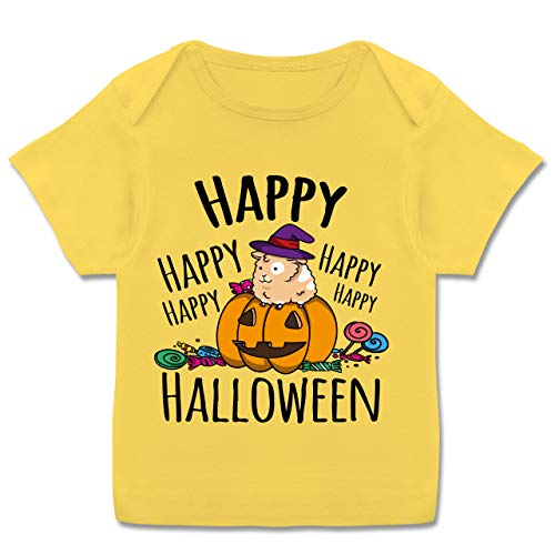 Halloween Baby - Happy Halloween - Meerschweinchen und Kürbis - schwarz - 80-86 (18 Monate) - Gelb - E110B - Kurzarm Baby-Shirt für Jungen und (Baby Meerschweinchen Kostüm)