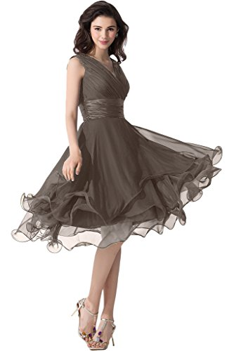 Victory Bridal Einfach Tief V Ausschnitt Abendkleider Ballkleider Brautjungfernkleider kurzes Chiffon-38 Braun