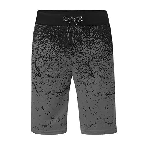 MOTOCO Männer Casual Hosen Sommer Sporthosen Joggen Fitness Hosen Druck Kordelzug Shorts Strandhose Badehose Halbe Hosen(M,Dunkelgrau)