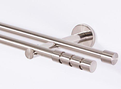 Gardinenstange 16 mm 2-läufig Edelstahloptik Metall Neu (280)