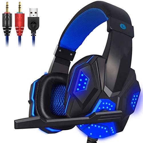 OPmeA Stereo-Gaming-Headset für Xbox One PS4-PC-Surround-Sound-Kopfhörer mit Mikrofon mit Noise Cancelling-LED-Leuchten Headset (Farbe : Blau) (Razor Surround-sound)