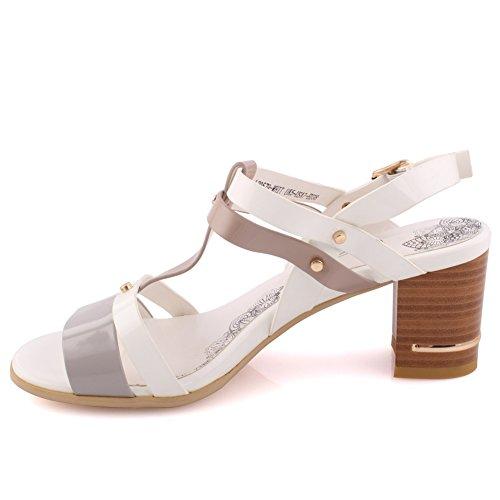 "Unze Le donne ""Khloe' Strappy Bassa metà parte di tacco Get-Together Soiree festa di carnevale blocco tacco sandali UK dimensioni 3-8 Bianco"