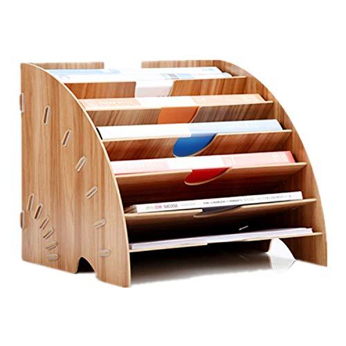 Portalettere in legno, accessori da scrivania, A4, portadocumenti, organizer per ufficio, studio, casa, con 6 scomparti, per riviste, raccoglitori A4 marrone