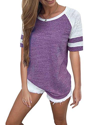 Cindeyar Damen Basic T-Shirt Sommer Casual Jersey Shirt Gestreift Rundhals Oberteil Tops Shirt (Lila Kurzarm, S) Oberteil Jersey