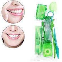 QYWSJ 9 Piezas de Cepillo de Dientes, Kit de Cuidado Bucal, Kit de Viaje de Ortodoncia, Cera Dental, Hilo Dental, ProteccióN de Soporte para Espejo, ...