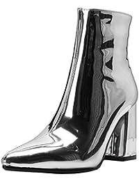 d2c853307364 YE Chaussure Bottes Mariage Courtes Bottines Vernis Bout Pointu Femme Zip Talon  Haut Bloc Chunky Heels Chaude…