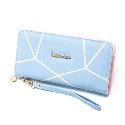 LIXIAQ1 Brieftasche mit geometrischem Muster und langem Lanyard-Reißverschluss -