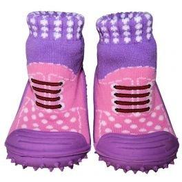 C2BB - Zapatillas-calcetines bebé niño antideslizantes suela flexible para niñas | Zapatillas de deporte rosas y moradas - Tamaño 23