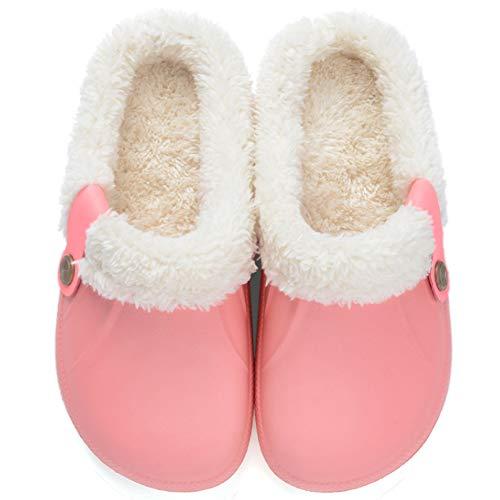 Flyd Clogs Herren Damen Gefüttert Hausschuhe Winter Warm Pantoffeln Haus Rutschfeste Plüsch Schlappen,Pink,Größe 37-38