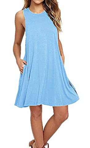 VIISHOW New Womens Swing Dress Ladies Flared Stretch Top Tunic Plus Size (Light blue M)