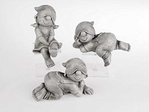 Zwerge in Steinoptik 3x21 cm. Lustige Gartenzwerge Wichtel Kinder aus Kunststein