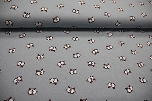 Stoff / Kinder/ Meterware / ab 25cm / beste Jersey-Qualität / Jersey Katze / Katzenkopf auf blau-grau (Katze Jersey)