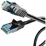 delightable24 - Cable Ethernet de red/conexión Lan CAT.6 Gigabit con conectores RJ45 - 10/100/1000Mbit/s - Compatible con CAT.5 /5e /7 - Para router, conmutador, módem, panel conector, campo conector, punto de acceso - Negro - 10 metros