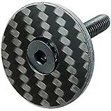 A-Head Carbon - Tapa para manillar de bicicleta, 1 1/8 pulgadas, con tornillo de titanio brillante