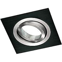Wonderlamp Classic W-E000008 - Foco empotrable cuadrado, incluye portalámparas GU10, ángulo basculación 30º, 9 x 9 x 2,5 cm, color negro
