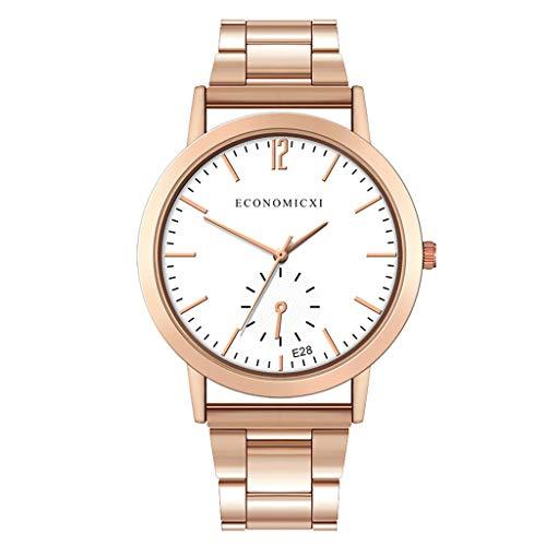 HHyyq Herren-Uhr Stahl-Gürtel Uhren Wasserdicht Business Men Es Watch Quarzuhr Sekunden Ausgeführt Art- Und Weisestahlbügel-Luxuxuhr-Mann-Kreative Beiläufige Uhr(F)