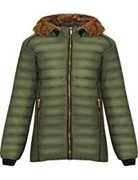 b5d9d685fdc WearAll Women s Plus Long Sleeve Faux Fur Collar Hood Puffer Jacket Ladies  Coat Zip Pocket 14