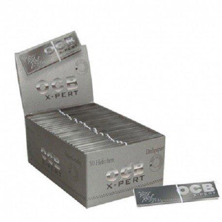 OCB X-Pert XXL KS King Size silber silver mit Gummizug Zigarettenpapier lang Behälter 50Pakete