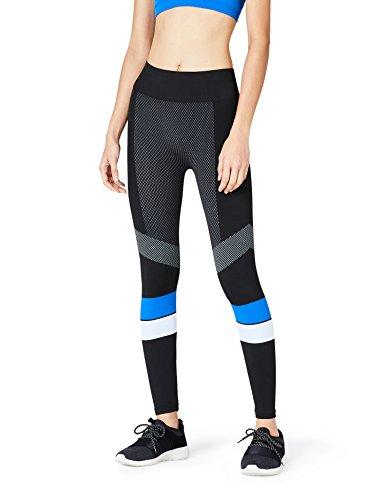 FIND Damen Sport Leggings in Colour Block-Design, Gr. 40 (Herstellergröße: M), Schwarz (Black/Blue/White)