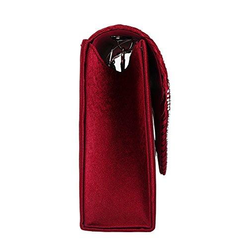 Clorislove - Pochette da sera con chiusura a busta, con strass, effetto satinato Burgundy Red