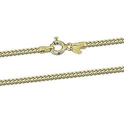 Amberta® Bijoux - Collier - Chaîne Argent 925/1000 - Plaqué Or 18K - Maille Gourmette - Largeur 2.0 mm - Longueur 45 50 55 60 70 80 cm (70cm)
