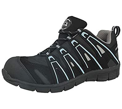 Groundwork Mens Steel Toe Cap Saftey Ultra Light Weight Lace Work Trainer Shoes (UK 7, Black/Grey)