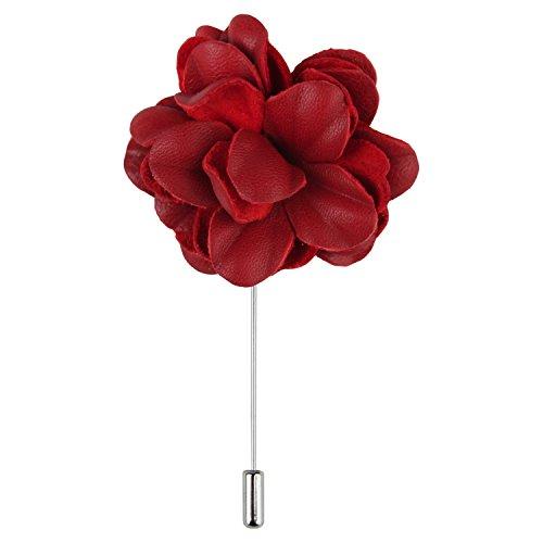 Ansteckblume, Knopflochblume Blume im Knopfloch Leder Boutonnière von Puentes Denver - Rot (Akzente Signatur)