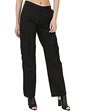 Juicy Trendz Mujeres Carga Pantalones Señoras Trabajo Vestir Pantalones Negro