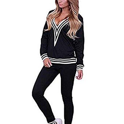 Frauen Fashion Sportswear Anzug Trainingsanzug Langarm Bluse + Lange Hosen Bequeme Sportbekleidung 2 Stück Casual Set Anzug für Jogging Lauf Fitness (Hosen-anzug Stück 2)