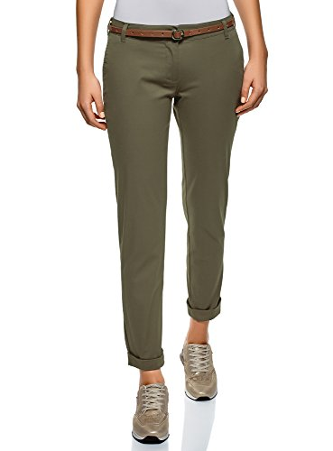 166806551e oodji Ultra Donna Pantaloni Chino con Cintura, Verde, IT 44 / EU 40 / M