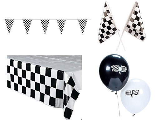 arty Pack Bundle Black & White Checkered (Tablecover, 100 ft Pennant Banner, Racing Finish Line flags & Balloons) (Checkered Flag Banner)