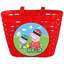 Peppa Pig Fahrradkorb für Kinderfahrräder mit 2 Laschen, Rot, 70204