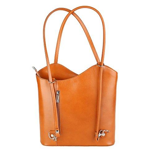 Chicca Borse Shoulder Bag Borsa da Donna a Spalla in Vera Pelle Made in Italy 28x30x9 Cm Cuoio
