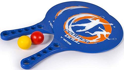 VICTOR Featherball Set Premium - Beachball Set + 2 Kunststoffschläger + 2 Bälle