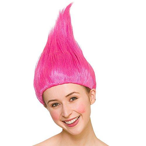 Peluca Troll unisex para adultos - Accesorio para disfraces de color rosa