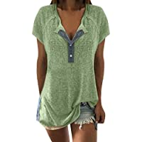 ESAILQ Bekleidung Camiseta - Redondo - Manga Corta - para Mujer