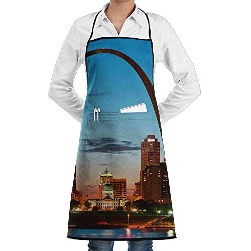 Drempad Premium Unisex Schürzen, St. Louis Skyline Faction Unisex Kitchen Cooking Garden Apron,Convenient Adjustable Sewing Pocket Waterproof Chef Aprons