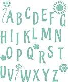 GRAZDesign 730051_57_055 Wandtattoo Deko für Kinderzimmer Schule ABC - Alphabet Blume - Mädchen | Geschenk Einschulung - 1. Klasse (68x57cm // 055 Mint)